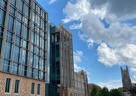 exterior view of the new engineering building with Duke Chapel in the background