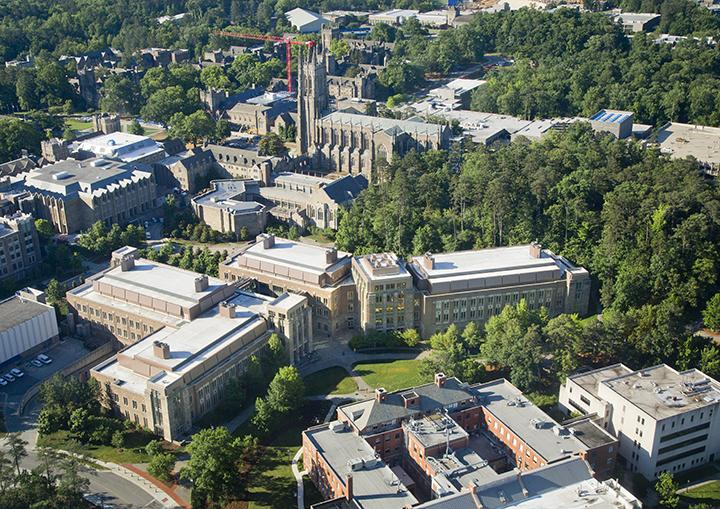 aerial view of Duke campus showing Harrington E-Quad